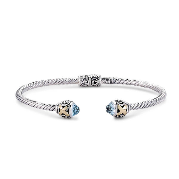 Hinged Design Cuff with Blue Topaz Ends, Sterling Silver