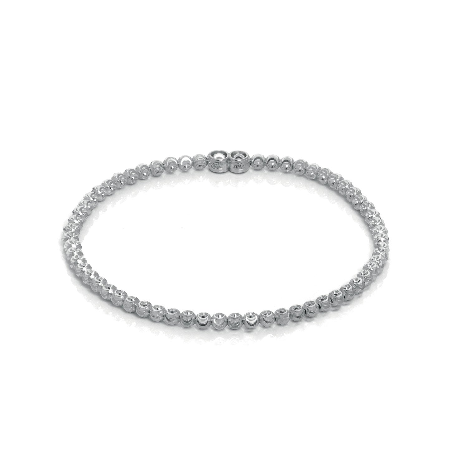 Stretchy Diamond Cut Bead Bracelet, Sterling Silver with Platinum Plating