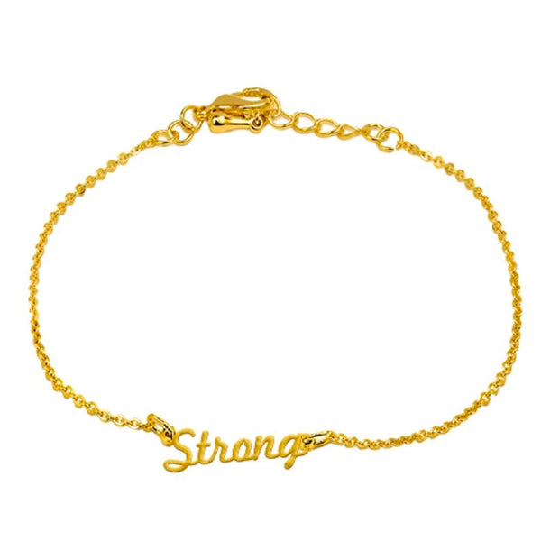 """Strong"" Script Bracelet, Yellow Gold Plated"