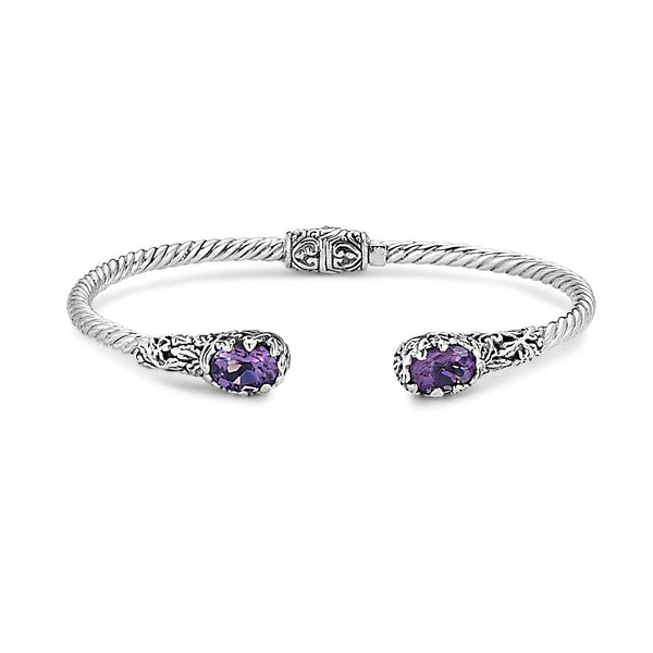 Rope Design Hinged Cuff with Amethyst Ends, Sterling Silver