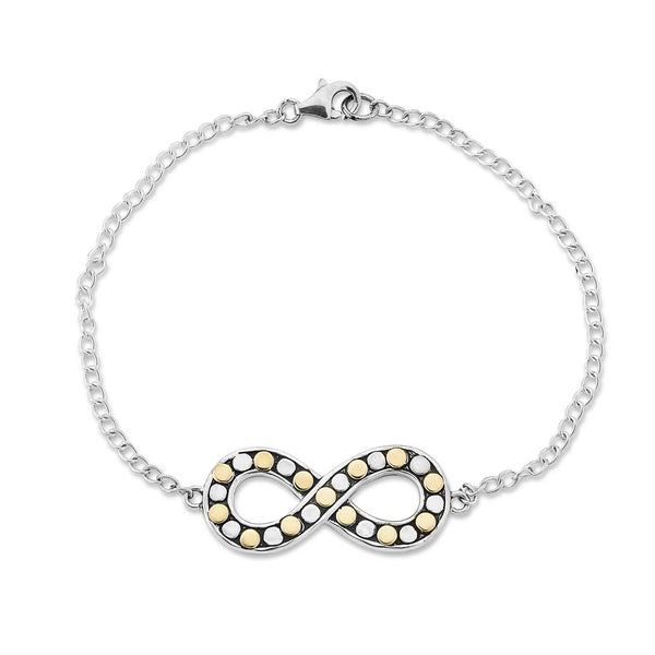 Beaded Infinity Plaque Bracelet, Sterling Silver and Gold Plating