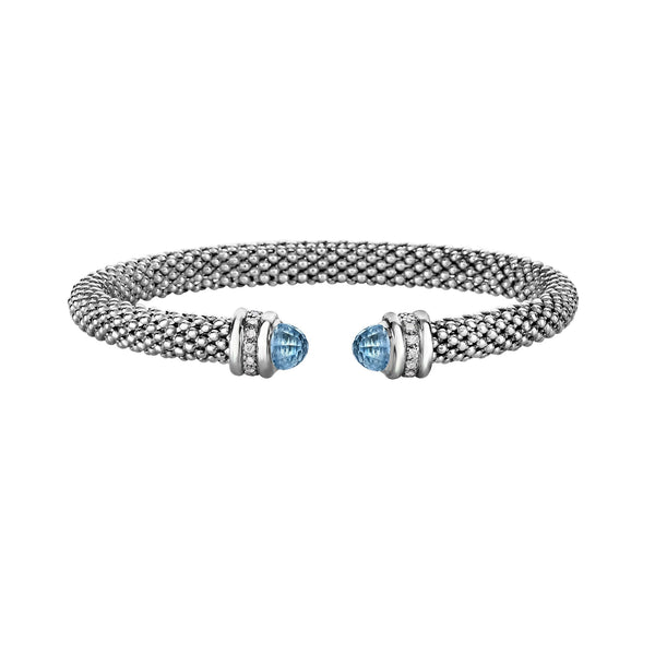 Bead Design Cuff with Blue Topaz Ends, Sterling Silver
