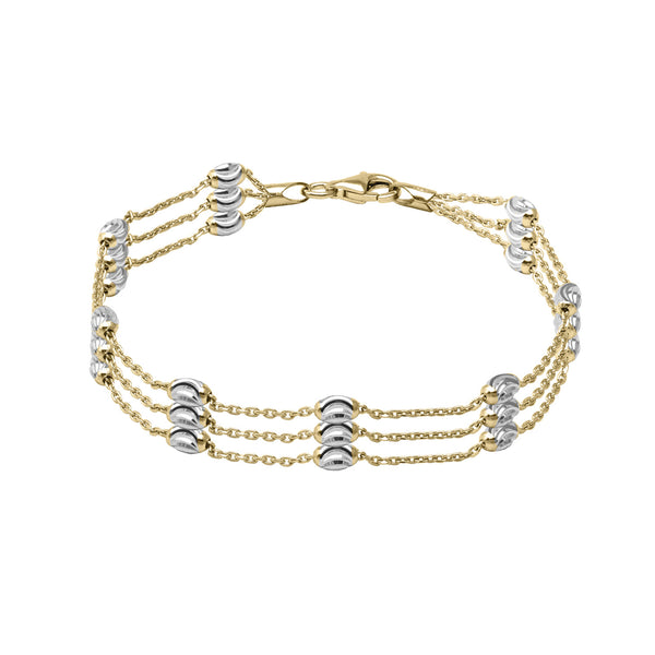 Three Strand Bead Bracelet, Sterling with 18K Yellow Gold Plating