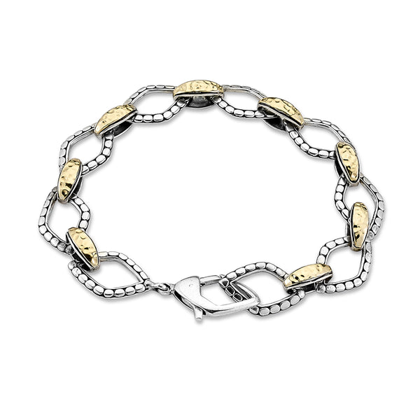 Two Tone Flexbile Link Bracelet, Sterling Silver and Gold Plating