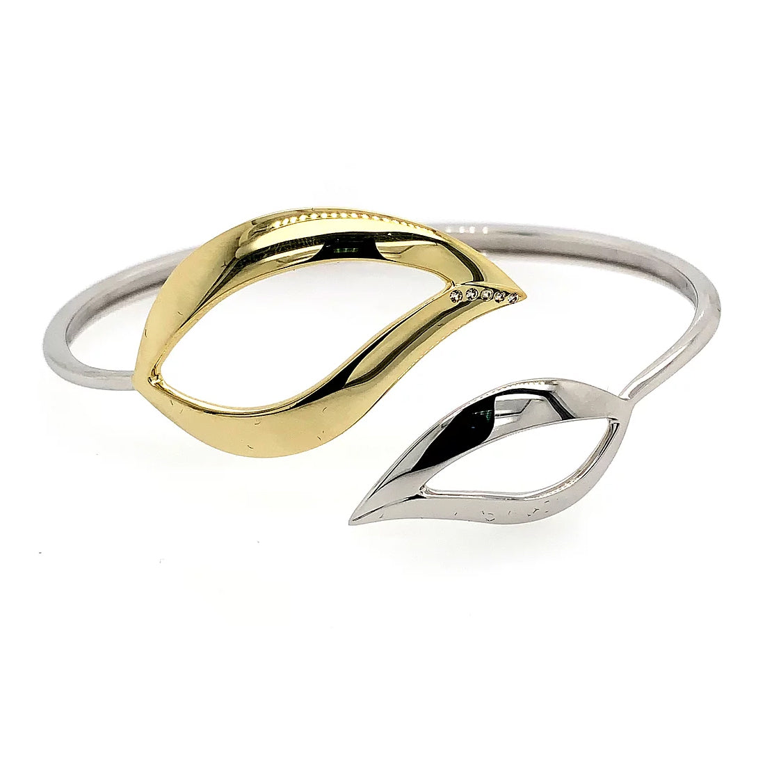 Open Leaf Hinged Cuff Bracelet, Sterling Silver and Gold Plating