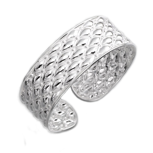 Raised Design Polished Cuff, Sterling Silver