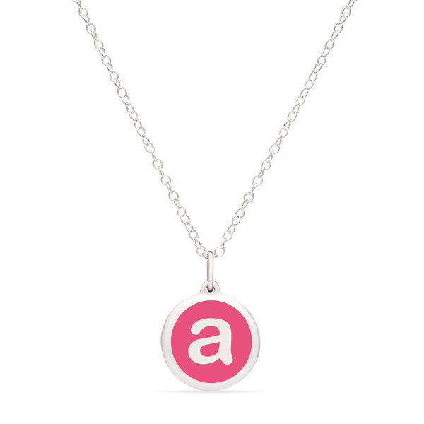 "Pink Enamel Pendant with Lower Case Initial ""a"", Sterling Silver"