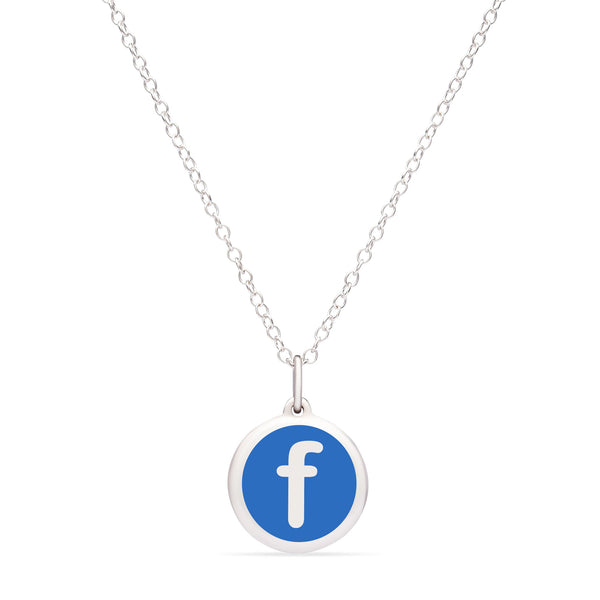 "Blue Enamel Pendant with Lower Case Initial ""f"", Sterling Silver"