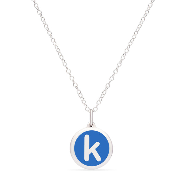 "Blue Enamel Pendant with Lower Case Initial ""k"", Sterling Silver"