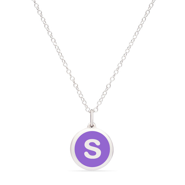 "Purple Enamel Pendant with Initial ""S"", Sterling Silver"
