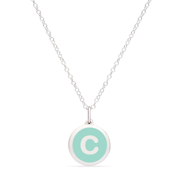 "Mint Green Enamel Pendant with Initial ""C"", Sterling Silver"