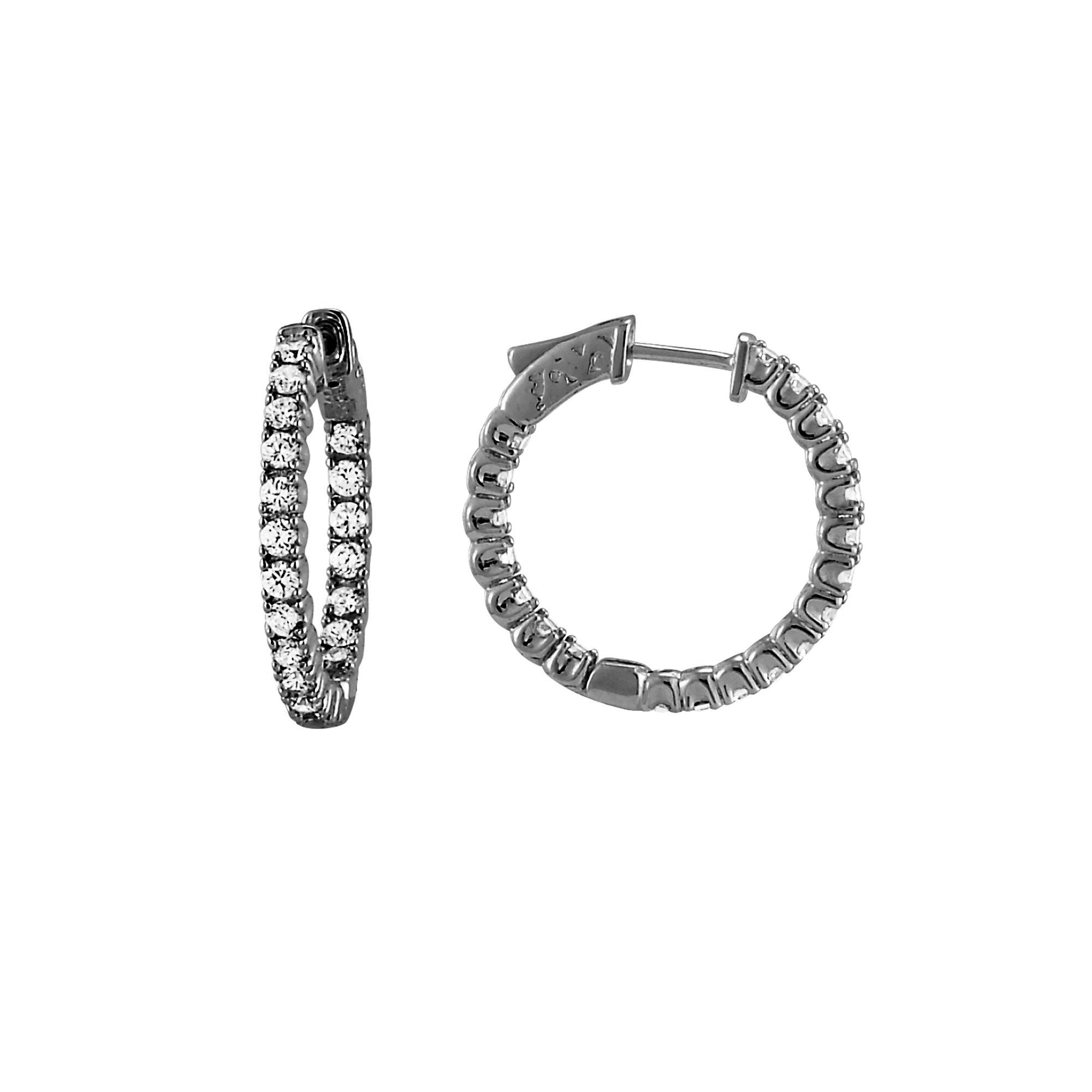 Inside Out CZ Hoops, 1 Inch, Sterling Silver in Black Rhodium