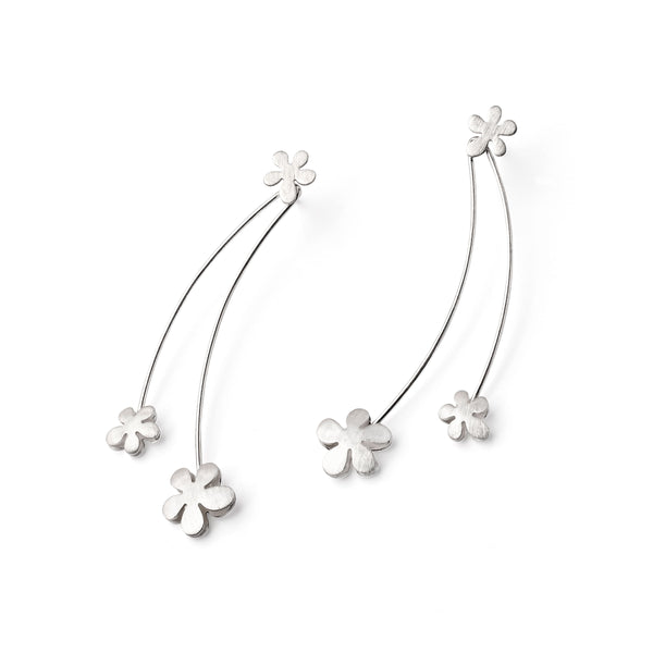 Long Dangle Daisy Earrings, Sterling Silver