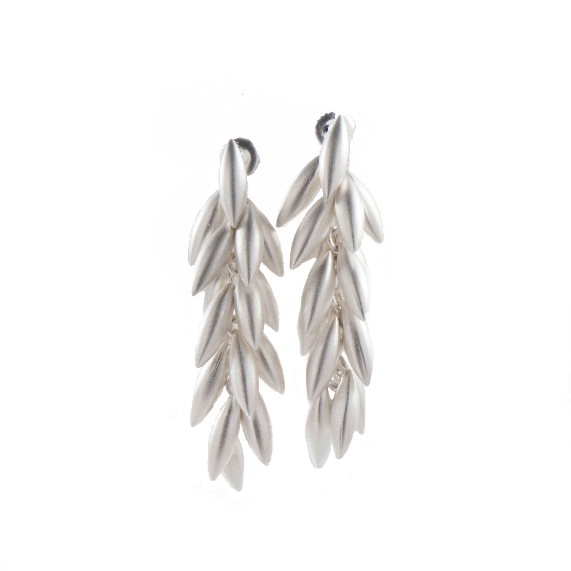 Seed Branch Dangle Earrings, Sterling Silver