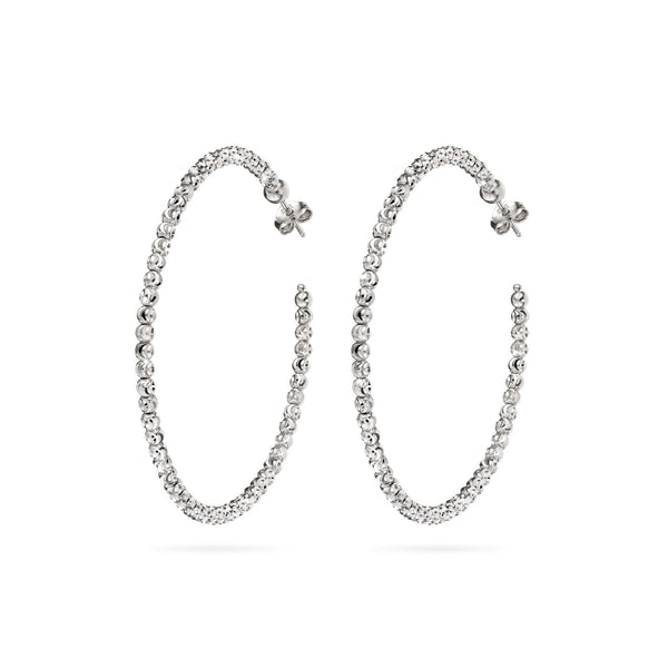 Bead Hoop Earrings, 2 Inches, Sterling with Platinum Plating