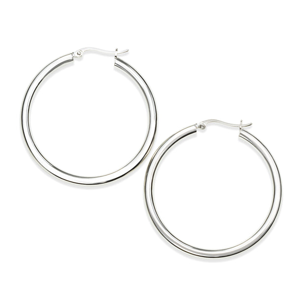 Hoop Earrings, 1.50 Inches, Sterling Silver