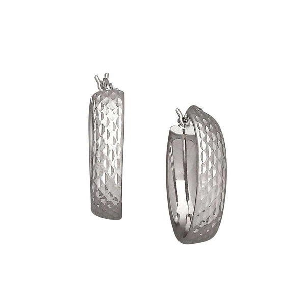 Diamond Cut Hoop Earrings, 1 Inch, Sterling Silver