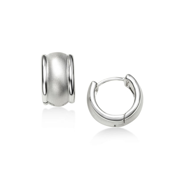 Brushed Finish Huggie Hoop Earrings, Sterling Silver