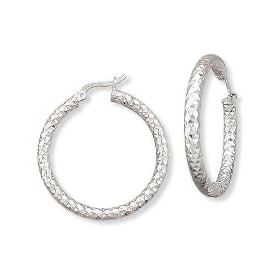 Diamond Cut Hoop Earrings, 1.20 Inches, Sterling Silver