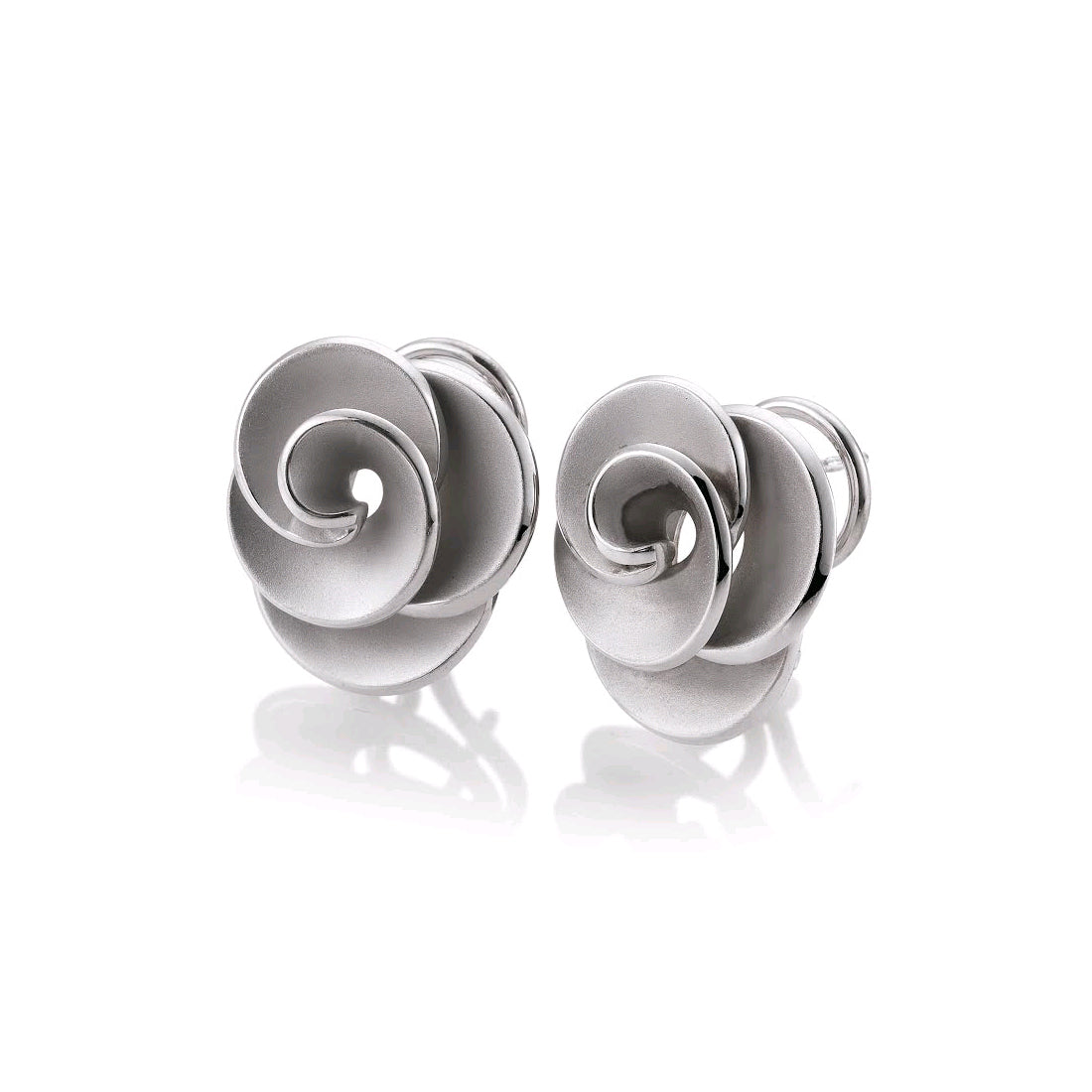 Rose Design Clip Post Earrings, Sterling Silver
