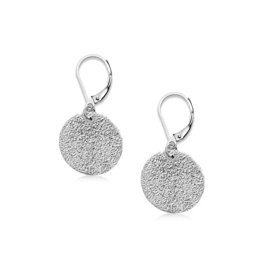Disc Drop Earrings, Sterling Silver with Sparkle Finish