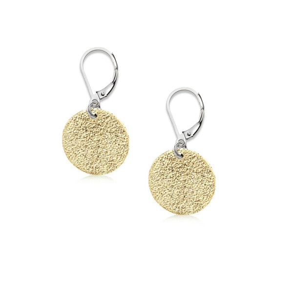 Disc Drop Earrings, Sterling Silver with Yellow Sparkle Finish