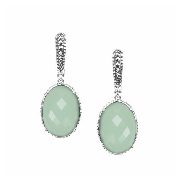 Apple Green Chalcedony and Marcasite Dangle Earrings, Sterling Silver