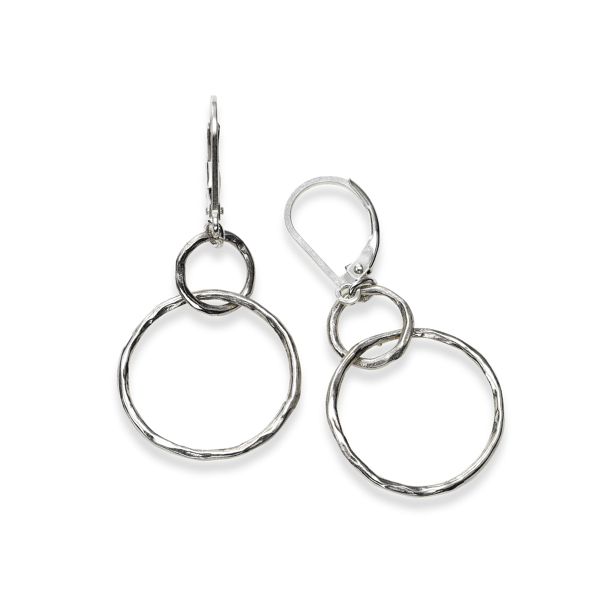 Double Circle Dangle Earrings, Sterling Silver
