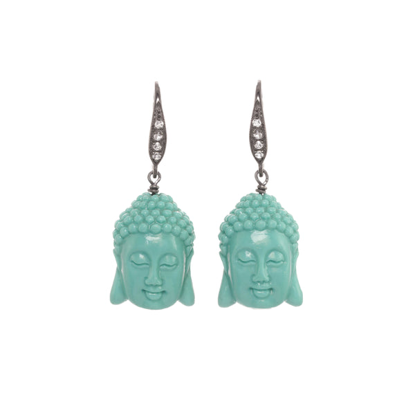 Carved Buddha Head Dangle Earrings, Sterling Silver