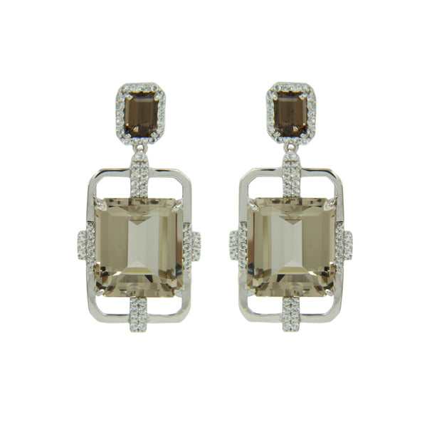 Smoky Quartz and White Topaz Dangle Earrings, Sterling Silver