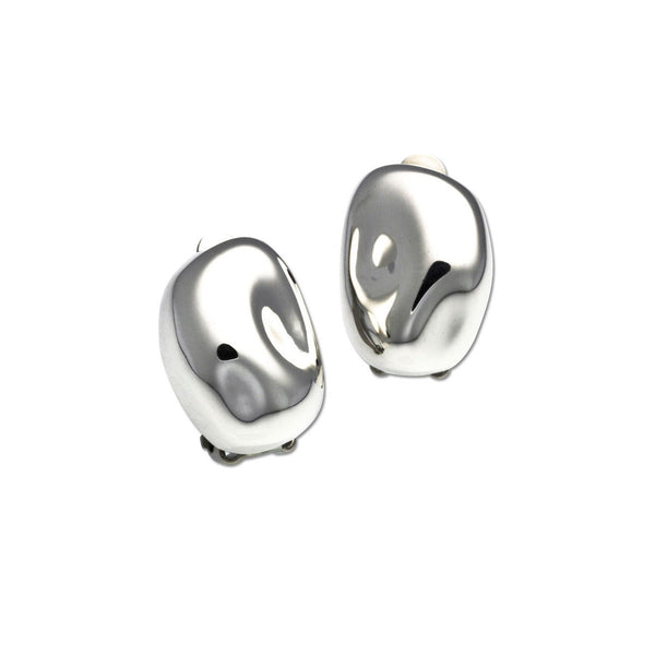 Shiny Bean Clip On Earrings, Sterling Silver