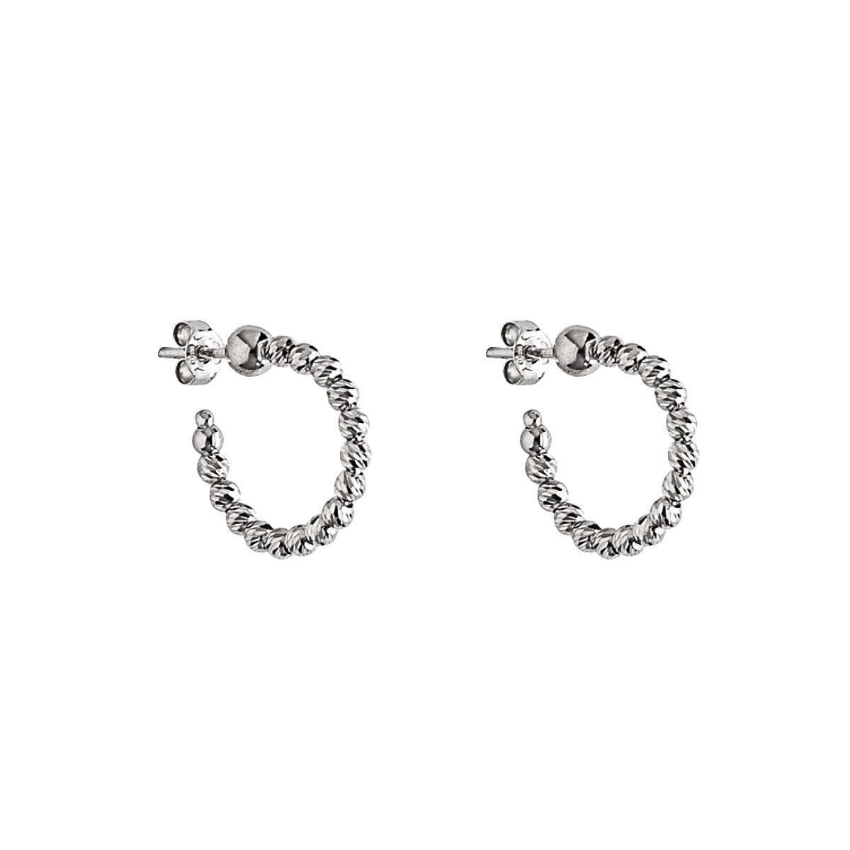 Small Bead Hoop Earrings, .60 Inch, Sterling Silver
