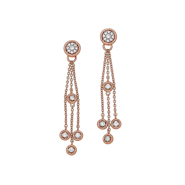CZ Dangle Earrings, Sterling Silver with Rose Tone Finish