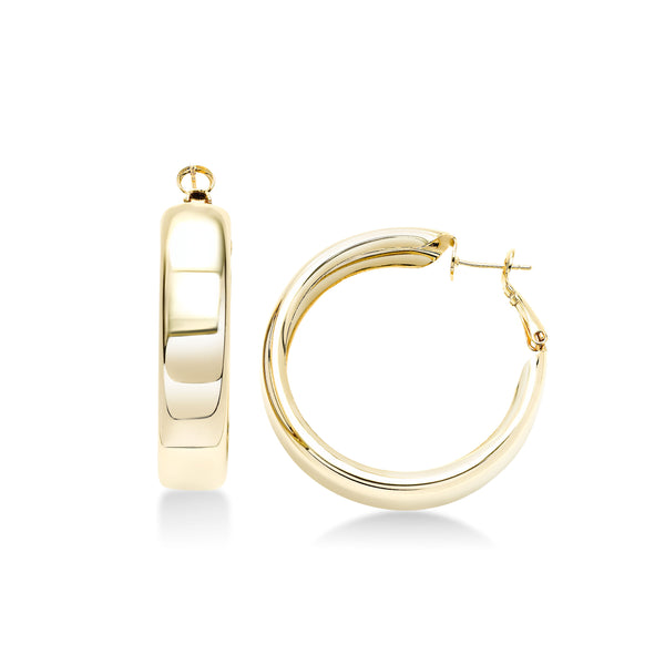 Wide Hoop Earrings, 1.60 Inches, Brass with Yellow Gold Flash Finish