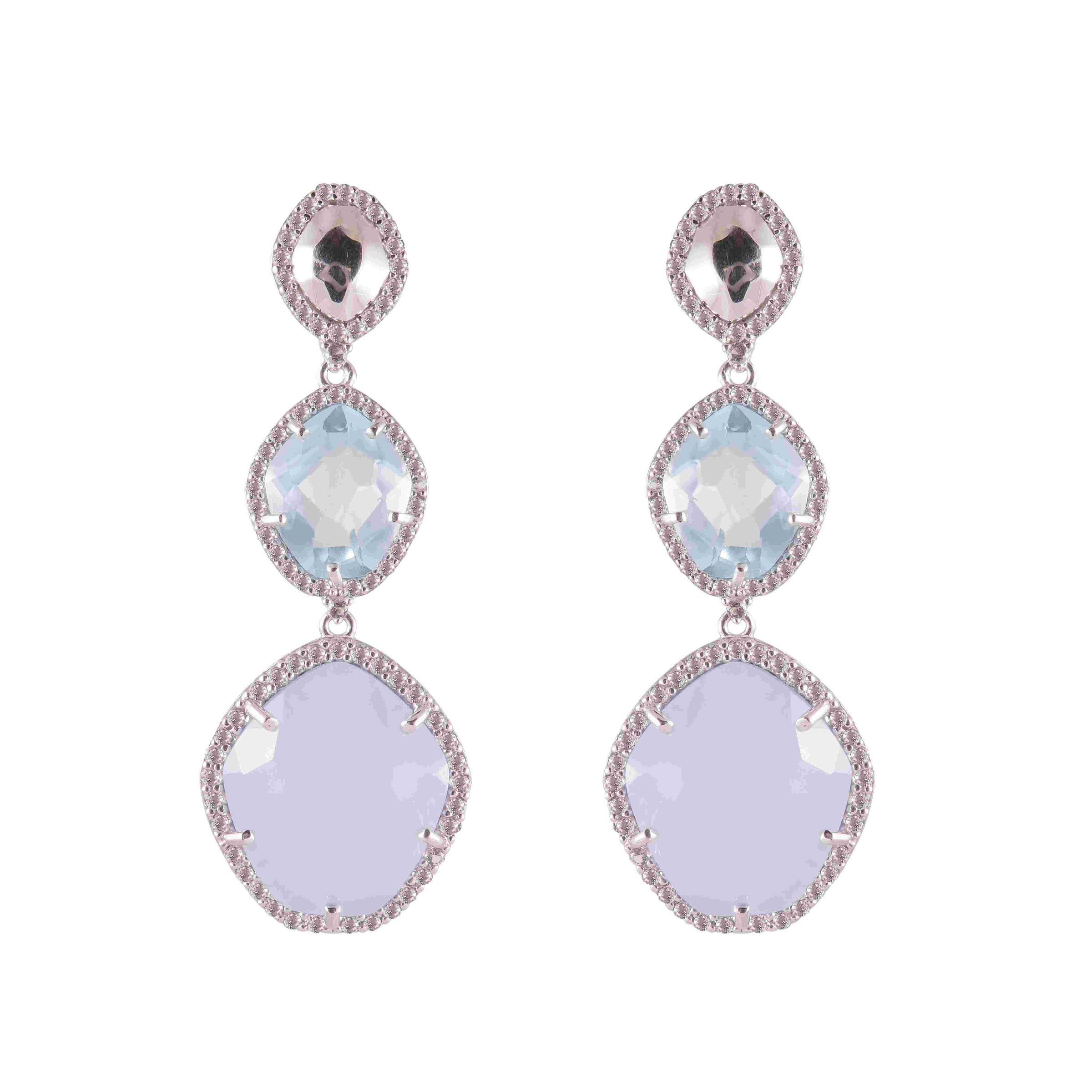Blue Topaz And Blue Chalcedony Dangle Earrings, Sterling Silver and Vermeil