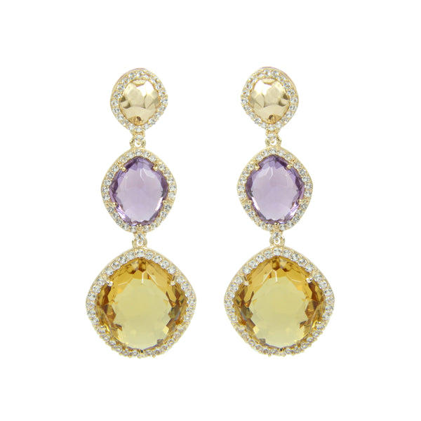 Citrine and Amethyst Dangle Earrings, Sterling Silver and Vermeil