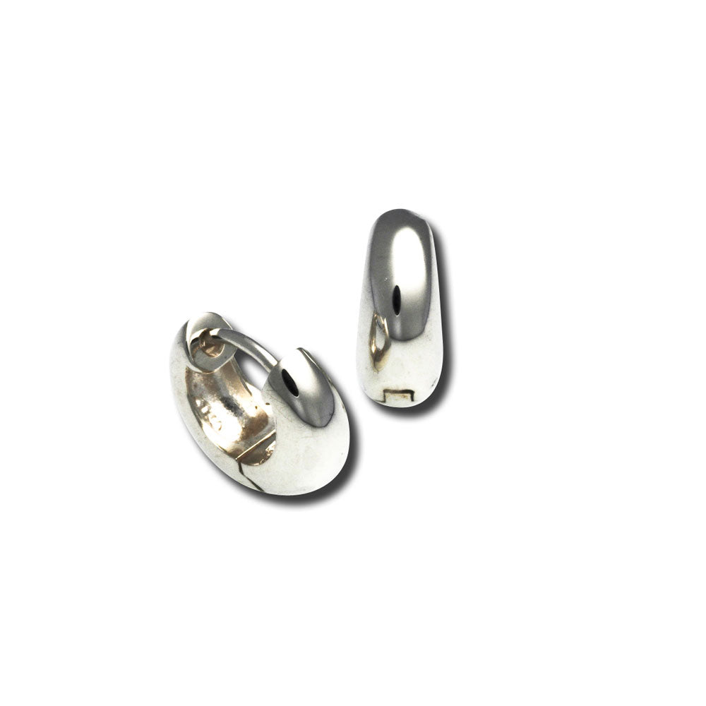Small Snap Hoop Earrings, Sterling Silver