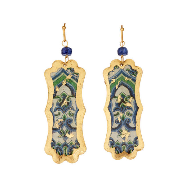 """Rotterdam"" Enamel Dangle Earrings, Gold Leaf, by Evocateur"