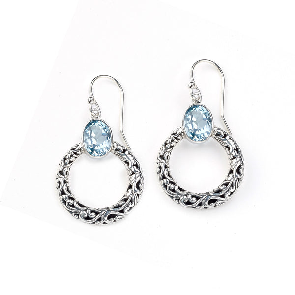 Circle Design Dangle Earrings with Blue Topaz, Sterling Silver
