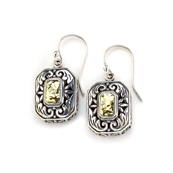Two Tone Rectangular Drop Earrings, Sterling Silver and 18K Gold