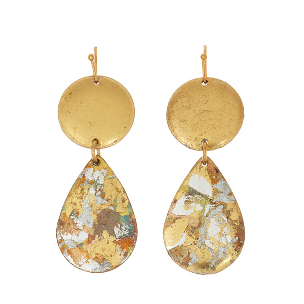 """Cosmos"" Enamel Dangle Earrings, Gold Leaf, by Evocateur"