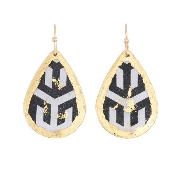 'Hera' Enamel Dangle Earrings, Gold Leaf, by Evocateur