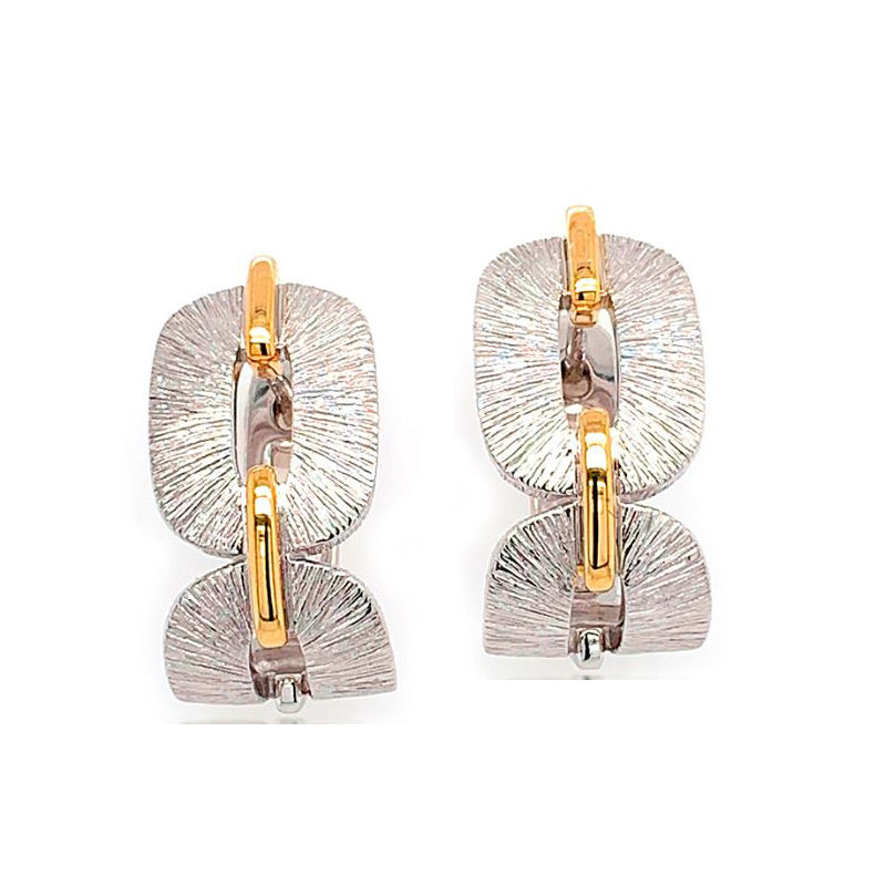 Two Tone Link Hoop Earrings, Sterling Silver and Gold Plating