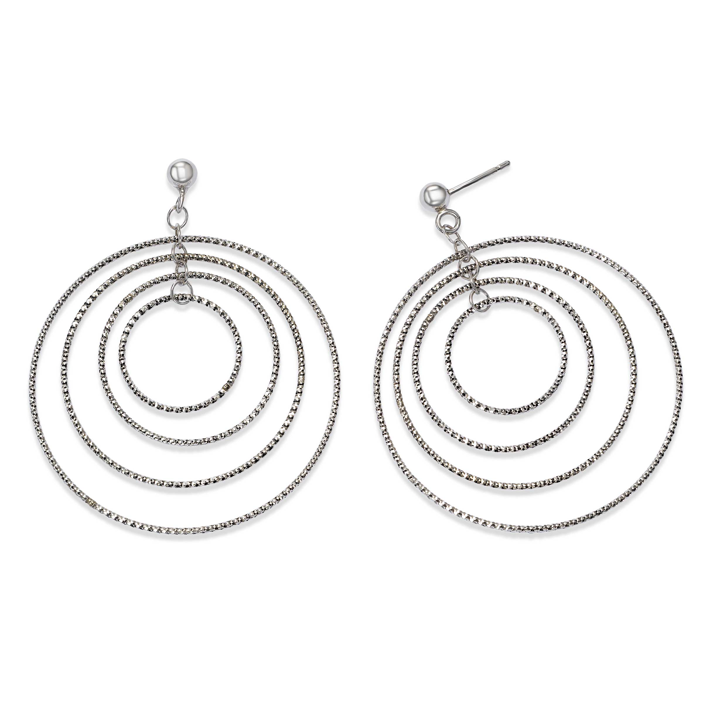 Concentric Circles Dangle Earrings, Sterling Silver