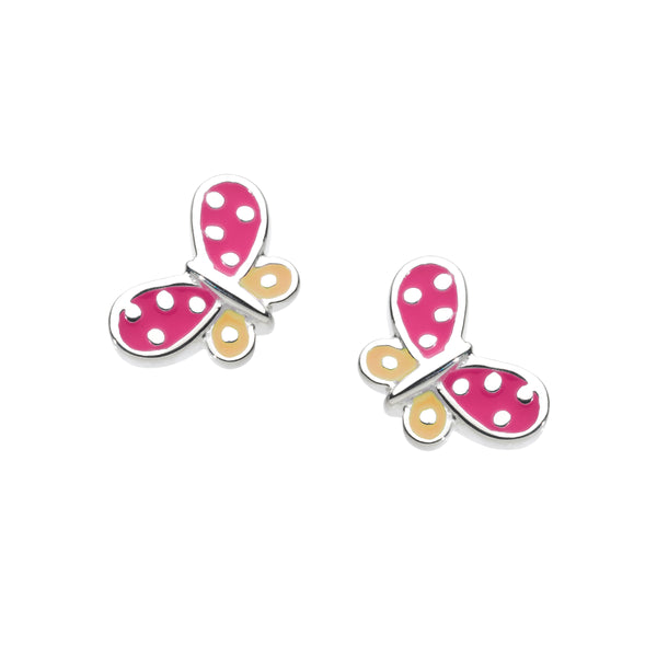 Pink and Orange Butterfly Stud Earrings, Sterling Silver