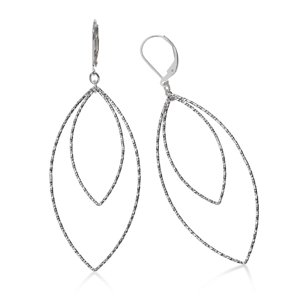 Large Double Marquise Dangle Earrings, Sterling Silver