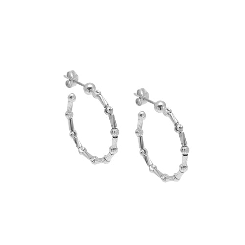 Diamond Cut Bead Hoop Earrings, 1 Inch, Sterling with Platinum Plating