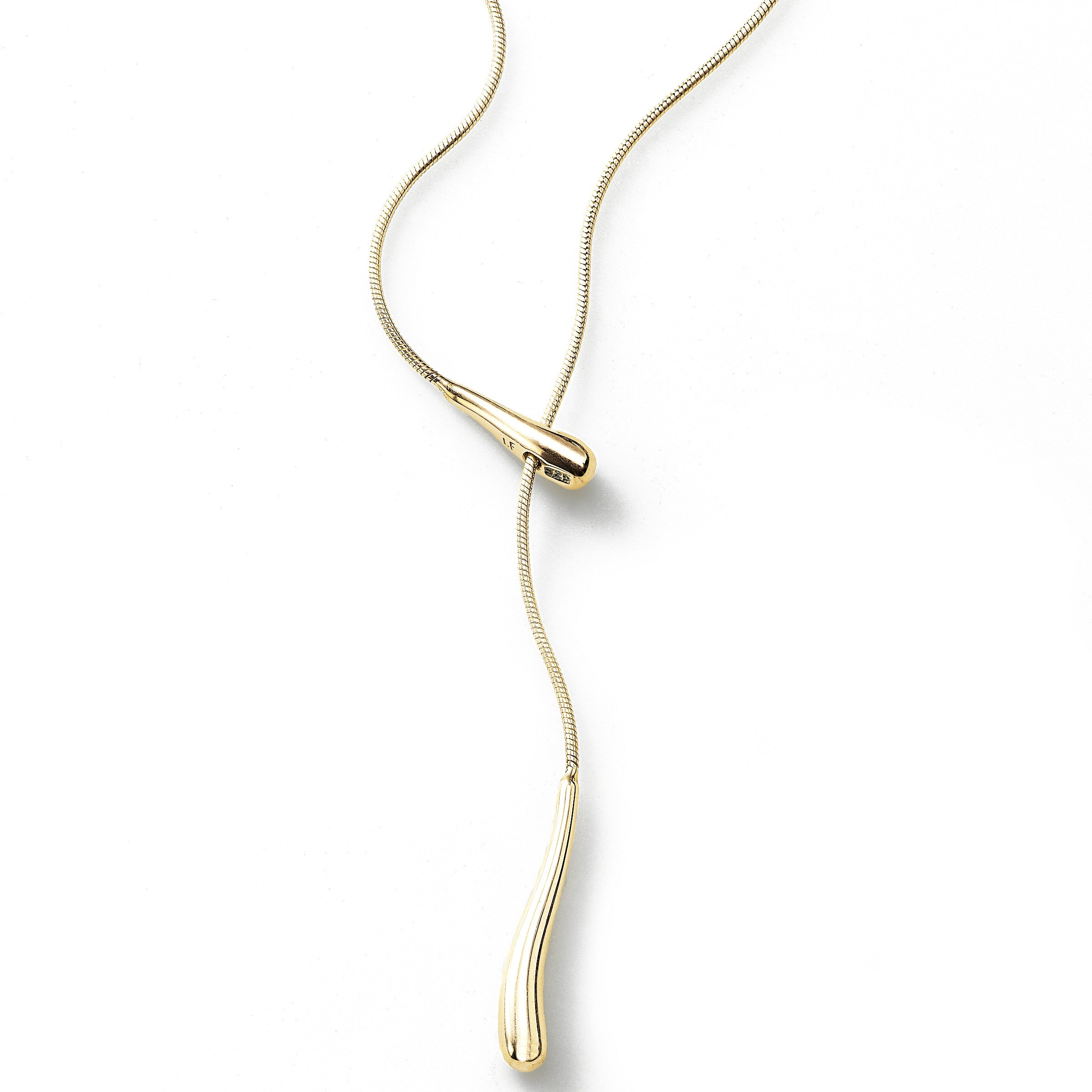 Lariat Style Y Necklace, 16 inch, Sterling Silver and 14K Gold Plating