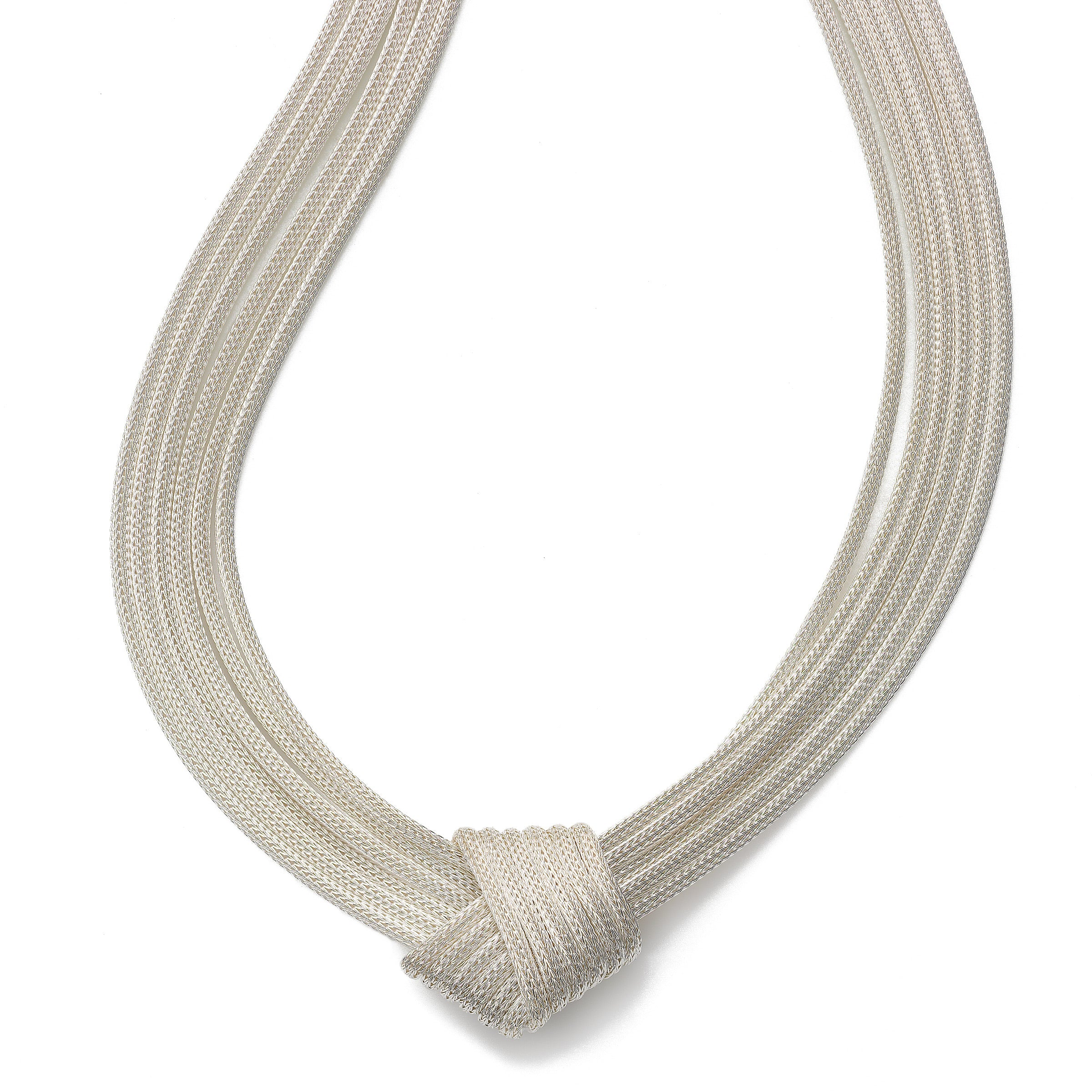 Dramatic Mesh Knot Necklace, 18 Inch, Sterling Silver