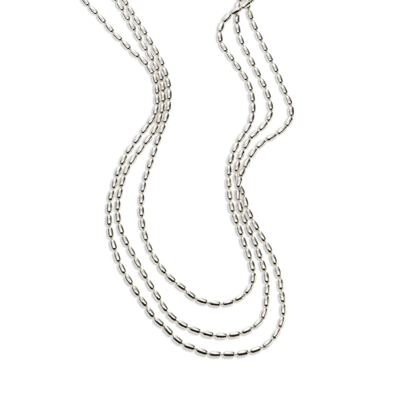 Graduated Triple Strand Bead Necklace, Sterling Silver